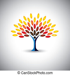 colorful people tree - eco lifestyle concept vector