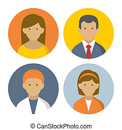 Colorful Peoples Userpics Icons Set in Flat Style. Vector