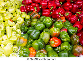 Colorful peppers green yellow red