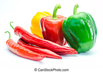 Colorful peppers on a white background.