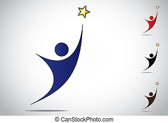 colorful person winning or achievement success symbol icon....