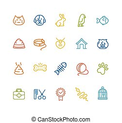 Pet Outline Icon Set. Vector