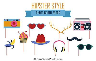 Colorful photo booth props icon set vector illustration....
