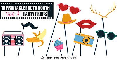 Colorful photo booth props icon set vector illustration