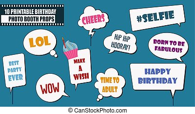 Colorful photo booth props set vector illustration