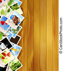 Colorful photos on wooden background. Vector illustration.