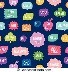 Colorful phrases seamless pattern on blue background