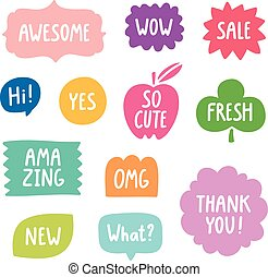 Colorful phrases vector collection