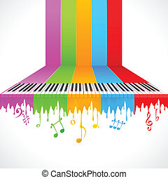 Colorful Piano - illustration of piano key on rainbow color ...