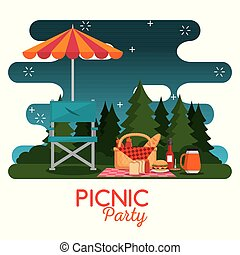 colorful picnic party poster