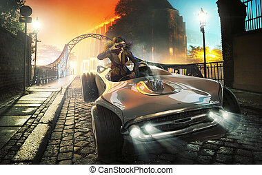 Colorful picture of female driver in old town