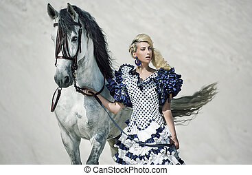 Colorful picture of the lady with horse