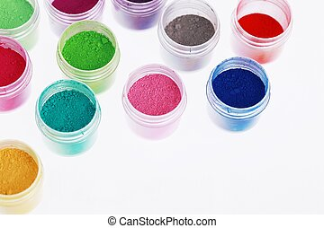 Colorful pigment powders education, arts, creative, back to school background