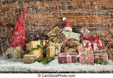 Christmas gifts in a winter snow fall