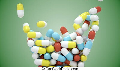 Colorful pills fall and then pour out - Colorful pills fall...