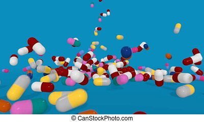 Colorful Pills Falling. 3D animation