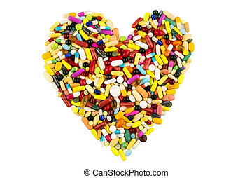 colorful pills in heart shape
