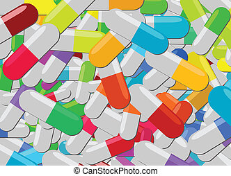 Colorful pills of various kinds in one big pile
