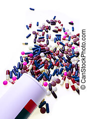 pills spilling out of container - colorful pills spilling ...