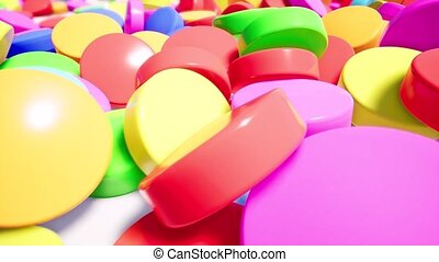 Colorful pills stacked on white surface 3d animation