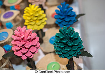 Colorful pine cones of the pine tree