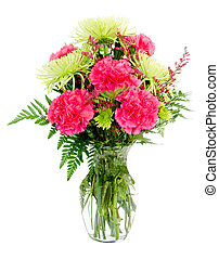 Colorful pink and green flower arrangement with carnations and spider mums isolated on white