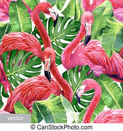 Colorful pink flamingo - Pink flamingo, monstera leafs, palm...