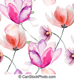 Colorful pink flowers, watercolor illustration, seamless pattern