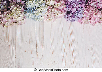 Colorful pink,blue,green,white border of hydrangea, greeting card with space for text. Beautiful hydrangea flowers on rustic white wood, flat lay. Hello spring. Happy mothers day. Women day