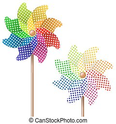 colorful pinwheel - two colorful pin wheels for spring or...