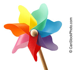 Colorful pinwheel isolated on white background