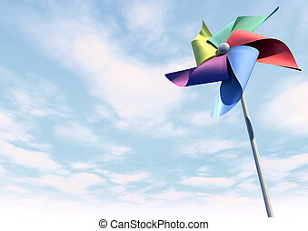 A regular toy pinwheel windmill with five differently colored vanes on a stick on a bluesky and cloud background
