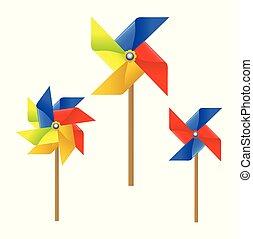 Colorful Pinwheel, Windmill vector