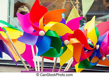 Colorful pinwheels in toy store.