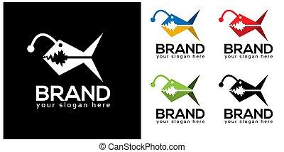 Colorful Piranha stock logo template. flat design
