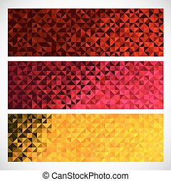 Colorful Pixel Background. Vector Set of Abstract Mosaic banners.