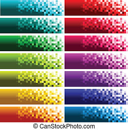 Colorful Pixel Banners - Set of colorful pixel banners