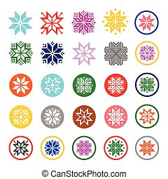 Colorful pixelated snowflakes icons