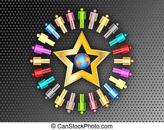 colorful planet business people