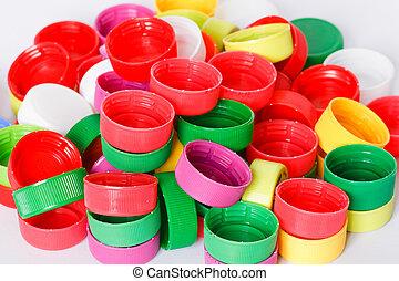 Colorful plastic bottle screw caps