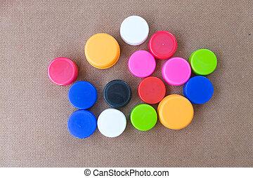 Colorful plastic bottle screw caps used