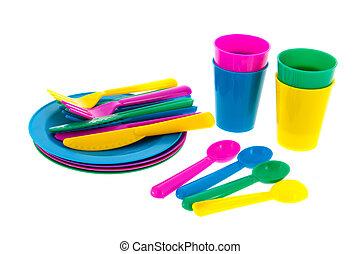 Colorful plastic crockery