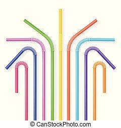 Colorful plastic drinking straws