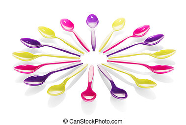 Colorful plastic spoons isolated on white background