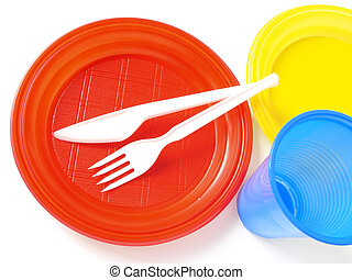 colorful plastic tableware set for picnic