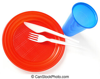 colorful plastic tableware set for picnic