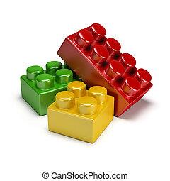 plastic toy blocks - colorful plastic toy blocks. 3d image....