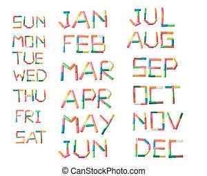 colorful plasticine alphabet calendar set on the white...