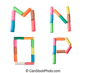colorful plasticine alphabet on the white background (M N O...