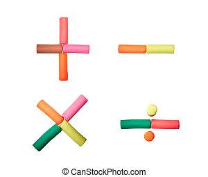 colorful plasticine numeric alphabet set on the white...